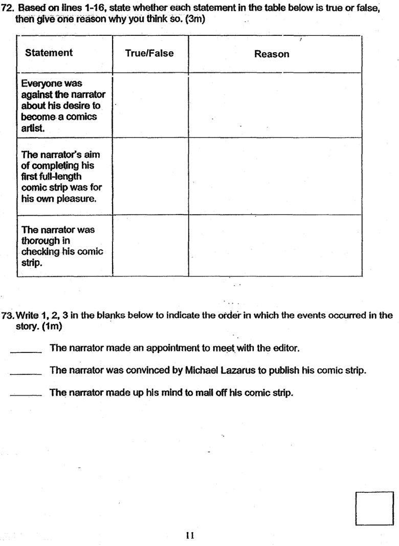 free test papers comprehension passage henry_park_2019_sa2a